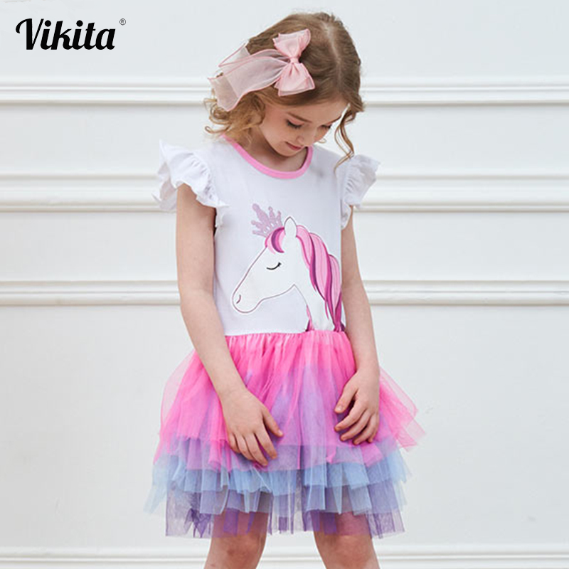 VIKITA Girls Unicorn Tutu Dress Kids Sequined Princess Vestido Girls Birthday Party Dress Children Summer Unicorn Costumes