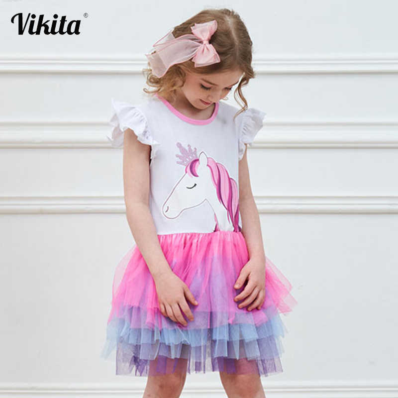 VIKITA בנות Unicorn טוטו שמלת ילדי נסיכת נצנצים Vestido בנות מסיבת יום הולדת שמלת ילדי קיץ Unicorn תלבושות