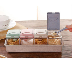 1 Pc Seasoning Storage Box 4-compartment Wheat Straw with Spoon Storage Container Spice Box for Spice Salt Sugar