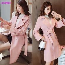 2019 autumn and winter new women's Korean version of the lapel fashion trumpet sleeve stitching pearl tie belt waist woolen coat raglan sleeve self tie waist coat