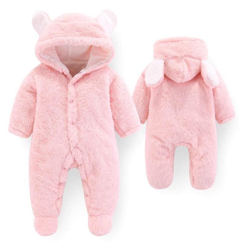 PatPat nuevo invierno cálido algodón Casual recién nacido lindo diseño de oso de invierno con capucha mono bolsa pie Mono para bebé niño niña