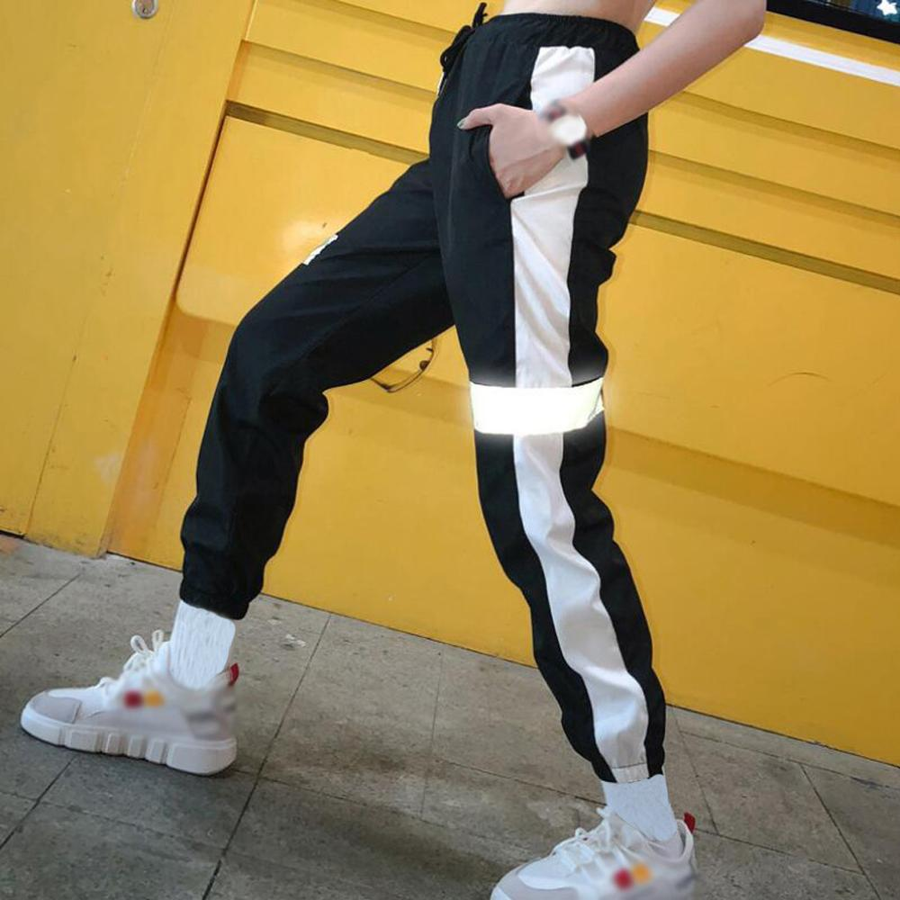 Women Sweatpant Reflective Pants Joggers Hip Hop Dance Show Party Night Jogger Baggy Trousers pantalon reflectante J30