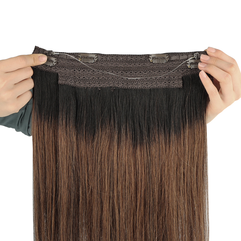 Halo Hair Extensions Straight Fish Line Human Hair Extension Invisible Wire Hair Extensions Remy Hair Fishing Wire with 4Clips