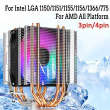 3/4pin CPU Cooler 4 Copper Heatpipe Heat Sink Dual Tower Quiet Cooling Fan For Intel LAG 1155 1156 775 For AMD Socket AM3/AM2