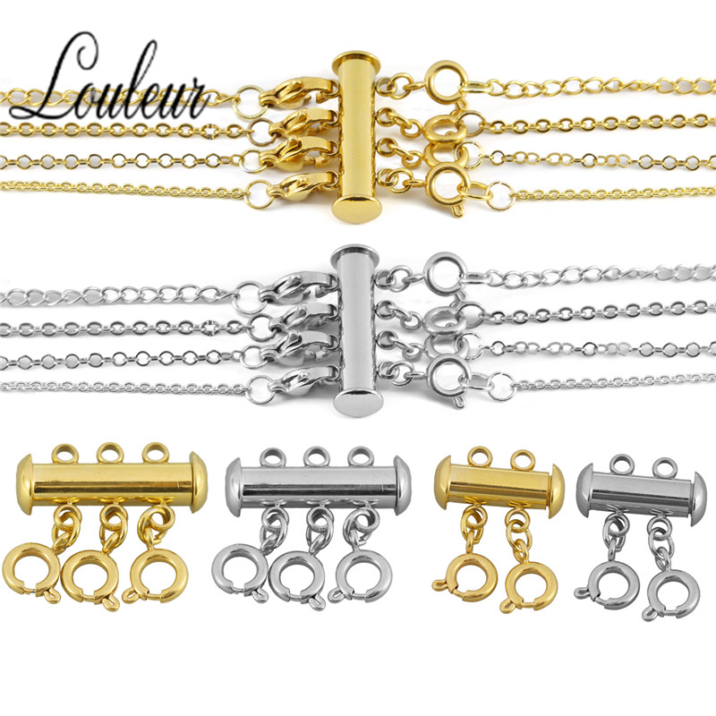 3set/lot Stainless Steel Spring Buckle End Clasps With Chains Lobster Clasps Connectors For Bracelet Diy Jewelry Making Findings