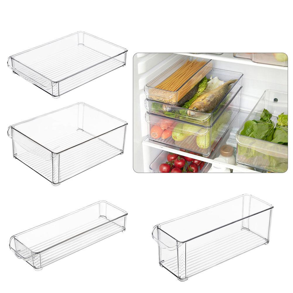 1PC Kitchen Refrigerator Storage Box Slide Plastic Freezer Fridges Space Saver Holder Food Container Organizer Rack Shelf