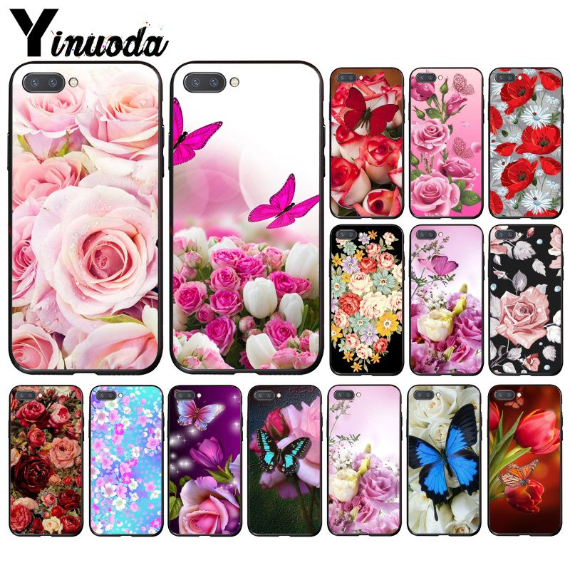 Yinuoda Red Butterfly On White Roses Flower  Phone Case For Huawei Honor 8A 8X 9 10 20 Lite 7A 5A 7C 10i 20i