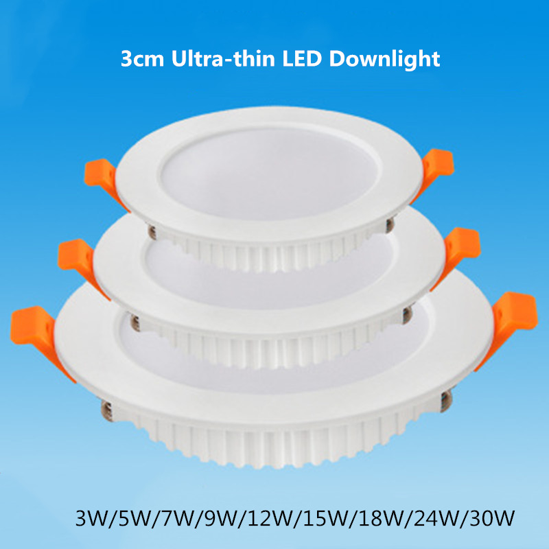 Ultra Thin Round LED Downlight 3W 5W 7W 9W 12W 15W 18W 21W 24W 30W 36W Aluminum AC220V LED Ceiling Recessed Spot Light|LED Downlights| - AliExpress