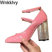 Bling bling crystal high heels shoes for women round toe pum