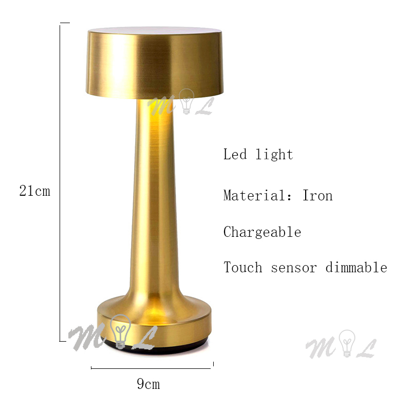 Touch Sensor Table Lamps Modern Led Bar Restaurant Simple Table Lamp Metal Desk Lamp Dimmable Art Deco Chargeable Beside Lamp