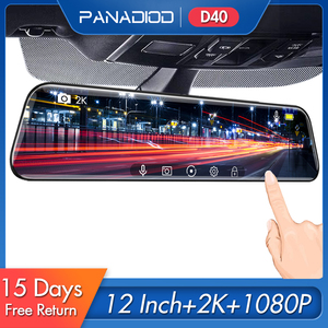 12 Inch Car DVR 1440P Stream Media Touch Screen Dash Camera Dual Lens Video Recorder Rearview Mirror 2K Backup Camera Dash Cam(China)