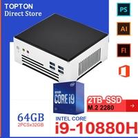 2021 günstige 10th Gen Mini PC Intel Core i9 10880H i7-1165G7 2 * M.2 NVME SSD Windows 10 Pro gaming Desktop-Computer 2 * DDR4 4K HTPC