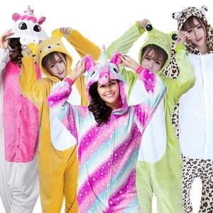 Cosplay Kigurumi Adult Pajamas unicornio Stitch Totoro Onesies Winter Jumpsuit Halloween Costumes For Women Kids Men Sleepwear(China)