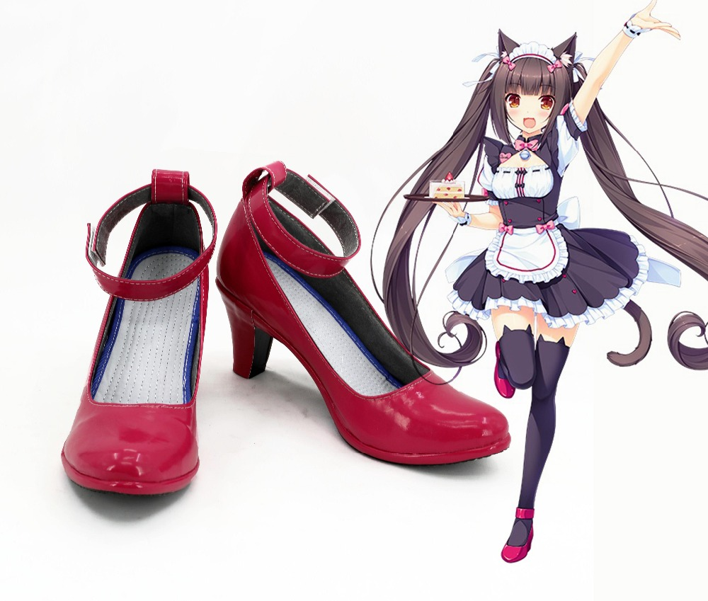 Chocola Vanilla NEKOPARA OVA Maid Chocola Vanilla Maid cosplay costume boots girls sailor moon <font><b>lolita</b></font> punk school <font><b>Red</b></font> <font><b>shoes</b></font> image