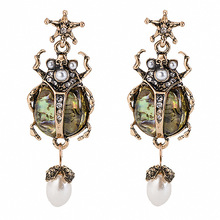 Fashion Crystal Charm Drop Earrings for Women Resin Simulated Pearl Insect Dangle Earrings Aretes De Mujer Modernos 2019 Jewelry зеркало заднего вида autovirazh premium av 012026
