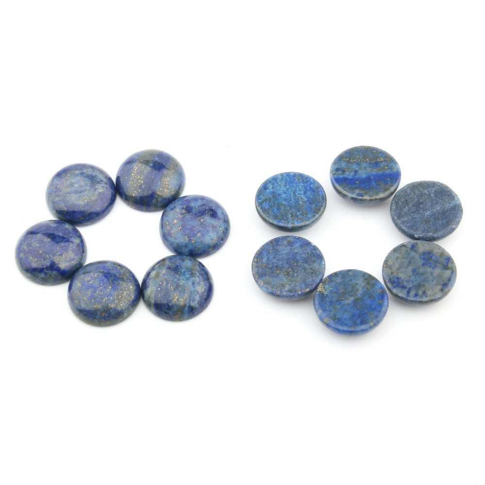 หินธรรมชาติ Lapis Lazuli Cabochon 10 12 14 16 18 มม.ไม่มีรูลูกปัดสำหรับทำเครื่องประดับ DIY อุปกรณ์เสริมลูกปัด