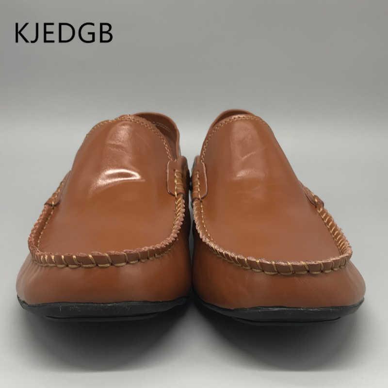 KJEDGB 2019 Zomer Lederen Heren Sneakers Mesh Comfortabele Platte mannen Schoenen Mens Casual Slip-On Schoenen Designer Grote size 39-47