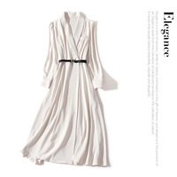 19 new autumn elegant pure color long sleeve is a belted waist show thin lapels long coat style dress in female