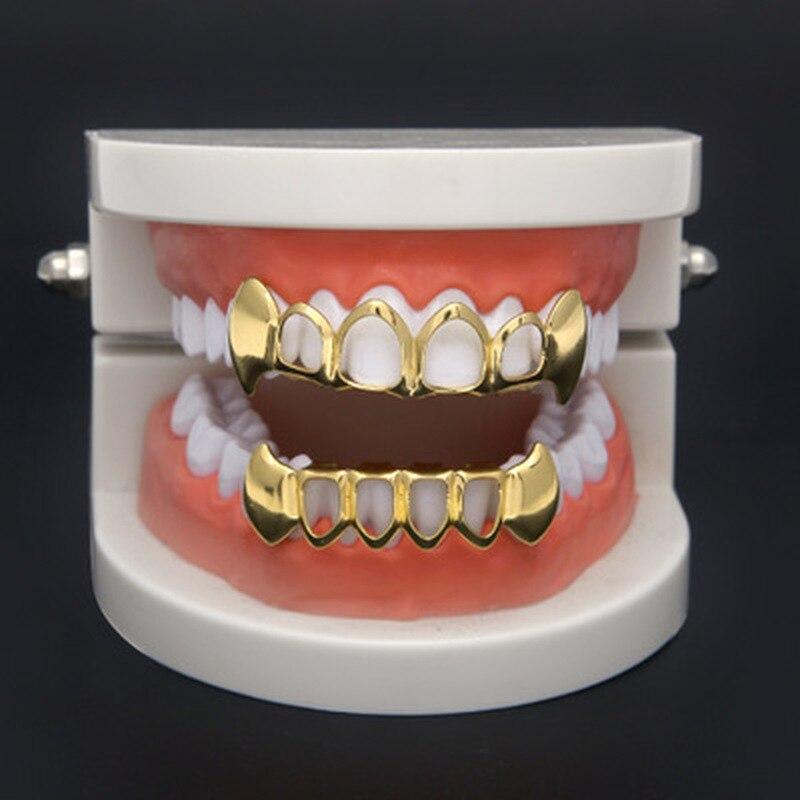 Набор с зубами в стиле хип-хоп, 1 шт., серебристые, золотые, с верхним дном, колпачки в стиле панк, накладные стоматологические грили для женщи...
