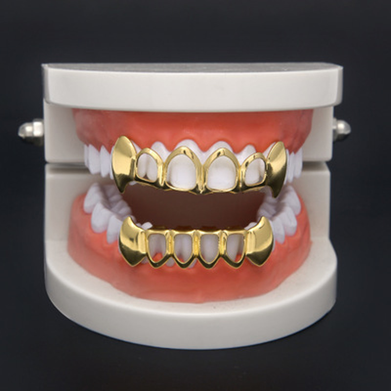 1 Pcs Hip Hop Teeth Set Silver Gold Tooth Top Bottom Caps Punk False Dental Grills For Women Men Body Jewelry Cosplay Party
