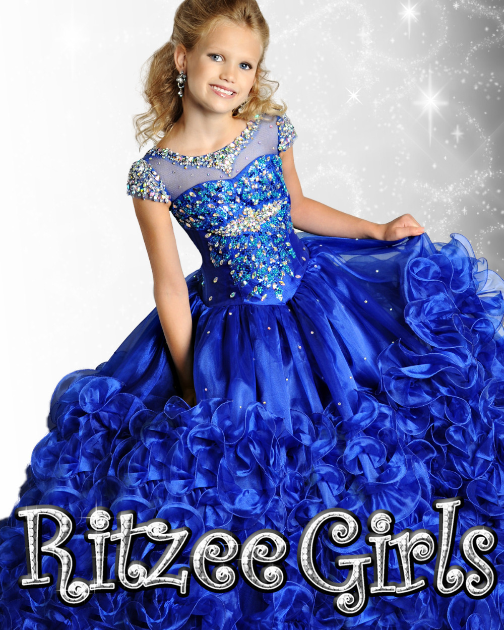 Promotion pas cher manches manches bleu robe de fille de fleurs en gros détail à volants fille pegeant robe robe de princesse robe de gâteau échantillon