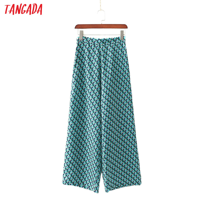 Tangada Fashion Women Print Suit Pants Trousers Side Zipper Vintage Style Pockets Office Lady Pants Pantalon 1D191