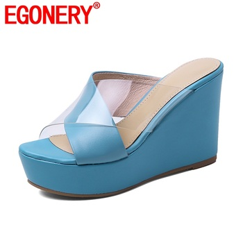 EGONERY natural leather slippers 2020 summer fashion woman 10cm super high heels shoes blue Wedge platform women's sandals