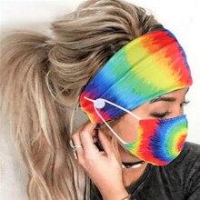 2 pièces/ensemble bouton bandeau visage couverture souple Fitness élastique bandeau cheveux mode bandeau avec visage couvre Turban cheveux accessoires