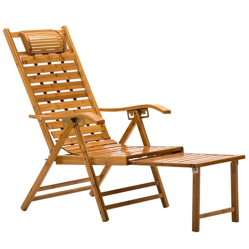 Summer Folding Recliner Rocking Chair Bamboo Chair Lunch Break Siesta Balcony Home Leisure Elderly Bamboo Recliner Chair