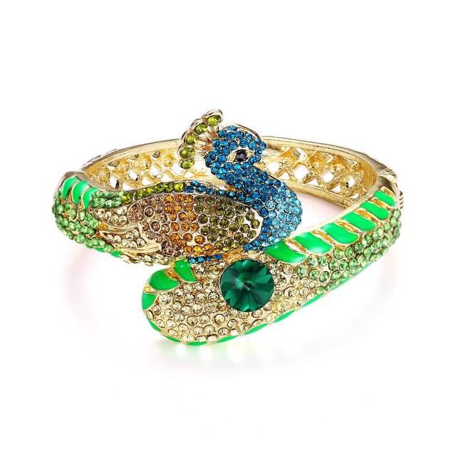 Metal Alloy Orange Beads and Rhinestones Vintage Peacock Animal Bangle Bracelet Rhinestone Peacock Bangle Bracelet