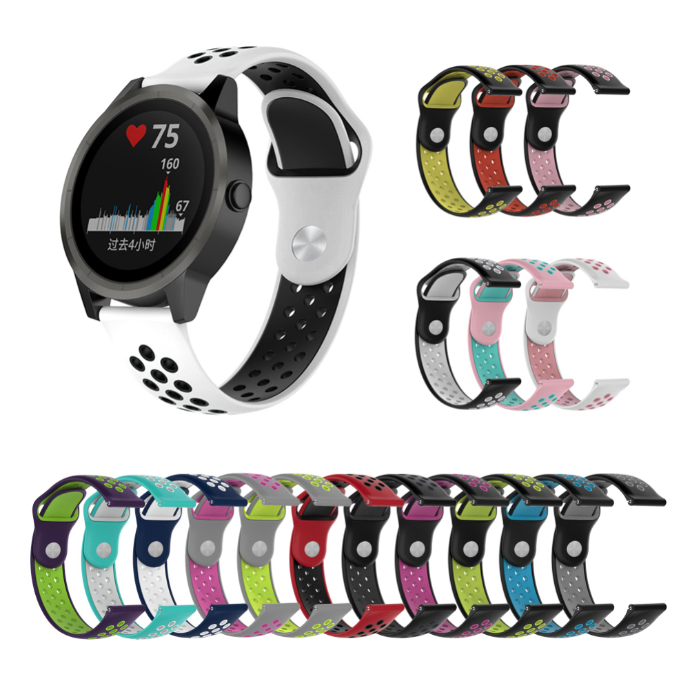 For Garmin Vivoactive3 HR Music Forerunner245M Two-color Rubber Strap 20MM Wristband Watch Bracelet Smartwatch Accessories
