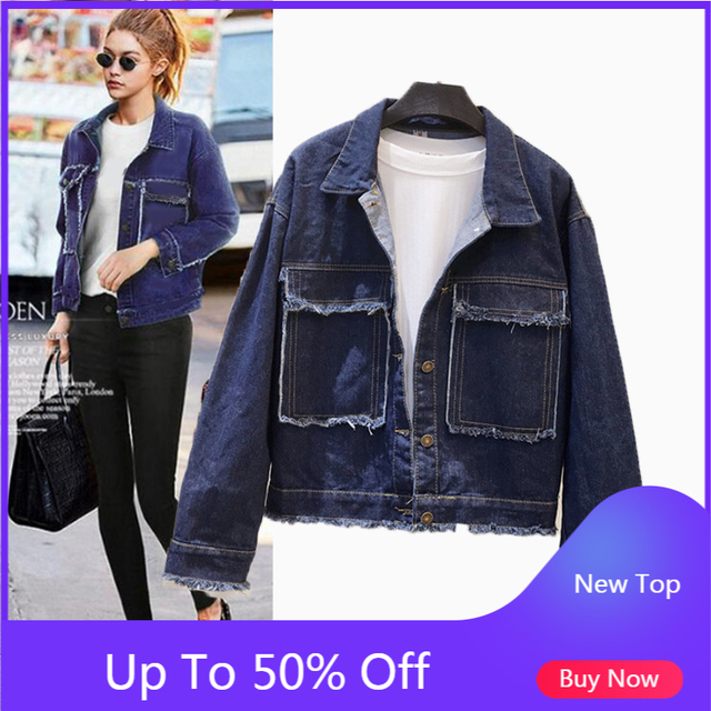 Semfri Jacket Women Winter Denim Jacket High Quality Loose chaqueta mujer 2019 Streetwear All match Mental Covered Button Coat