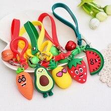 Keychain Silicone Pineapple-Avocado Fruits Strawberry Pendants Jewelry Car-Key-Ring Women