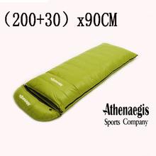 Duży rozmiar (200 + 30)x90CM biały puch gęsi 1200g 1500g 1800g 2000g napełniania luźne dorosłych wykorzystanie dół śpiwór tanie tanio Athenaegis [-10℃ ~-20℃] Łączenie podwójne śpiwór Dla dorosłych Standardowy (nadaje się do 1 8 m wysokości i poniżej)