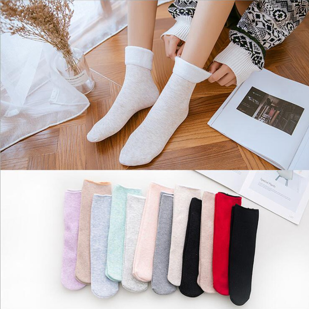 1 Pair Of New Women's Socks Women's Cotton Warm And Velvet Snow  Wild Floor Socks For Winter Warm Breathable Socks