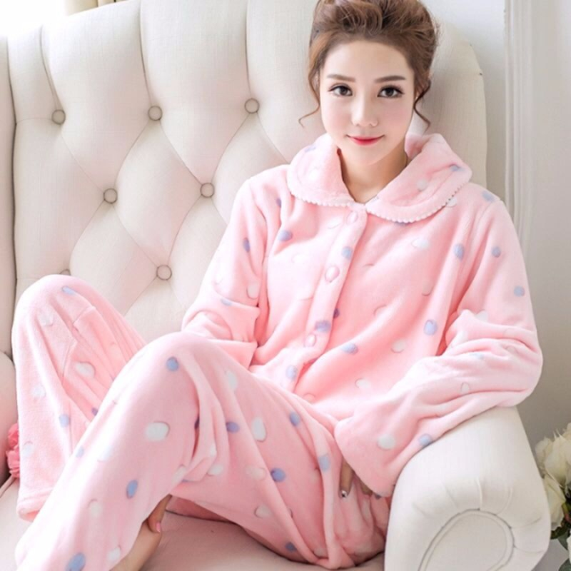 Thick Warm Flannel Print Long Sleeve Pajama Sets for Women 2020 Winter Coral Velvet Sleepwear Homewear Pijama Mujer Home Clothes