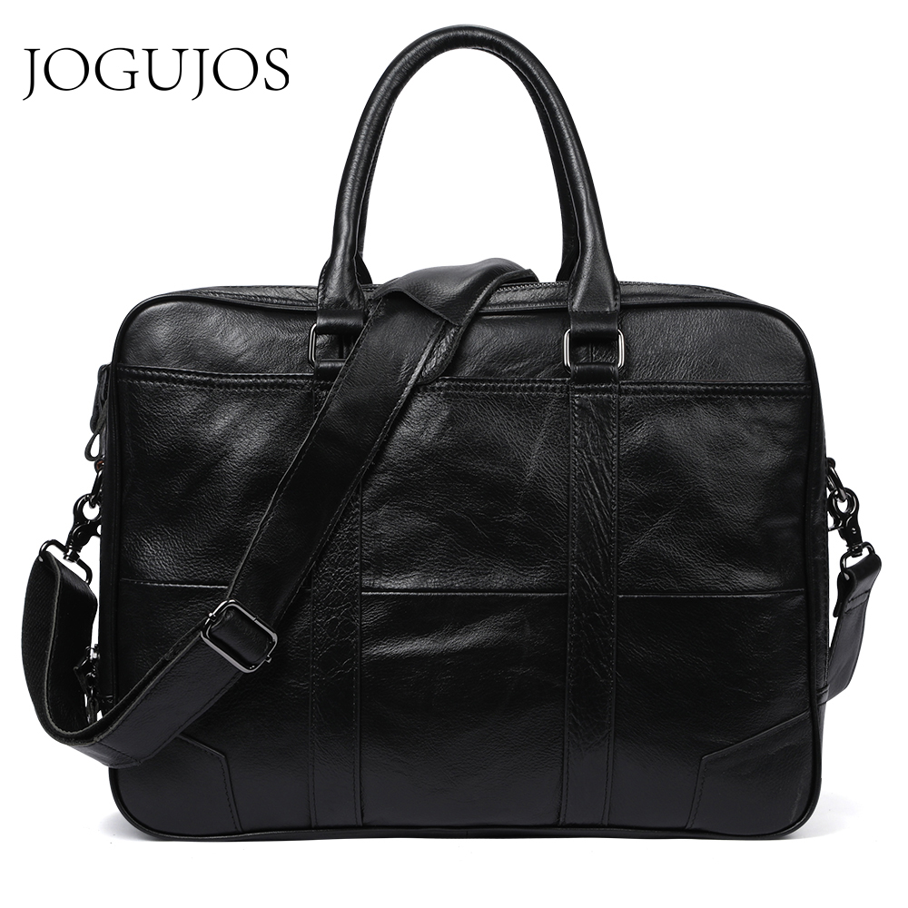 JOGUJOS Genuine Leather Men Business Briefcase Bag Computer Laptop Handbag Man Shoulder Bag Messenger Bags Men's Office Handbag