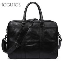 JOGUJOS Genuine Leather Men Business Briefcase Bag Computer Laptop Handbag Man Shoulder Bag Messenger Bags Men's Office Handbag цена 2017