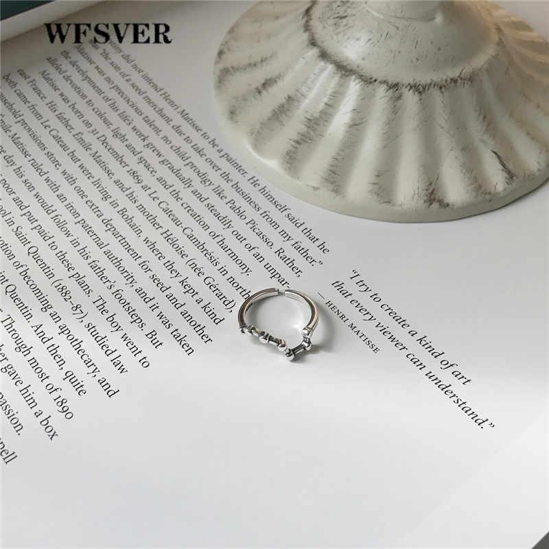 WFSVER Ювелирное кольцо из стерлингового серебра 925 пробы в Корейском стиле, большое кольцо, Незамкнутое регулируемое кольцо, женское модное ювелирное изделие, вечерние подарки