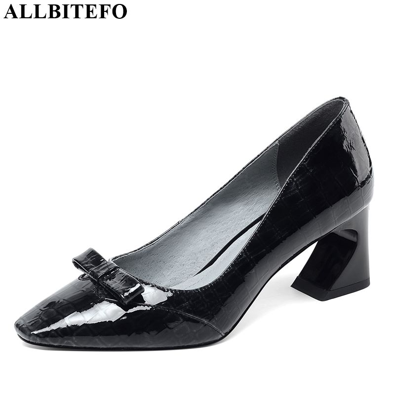 ALLBITEFO Bow Tie Genuine Leather New Fashion High Heels Casual Brand Girl High Thick Heel Shoes Hot Sale Women Shoes
