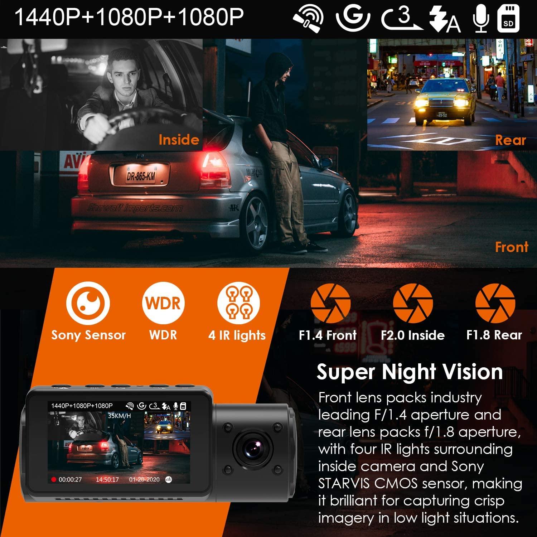 Image 4 - Kamera na deskę rozdzielczą Vantrue N4 3 kanały 1440P przód i 1080P wewnątrz i 1080P tylna potrójna kamera na deskę rozdzielczą era z widzenie nocne z wykorzystaniem podczerwieni, kondensatorKamery samochodowe   -