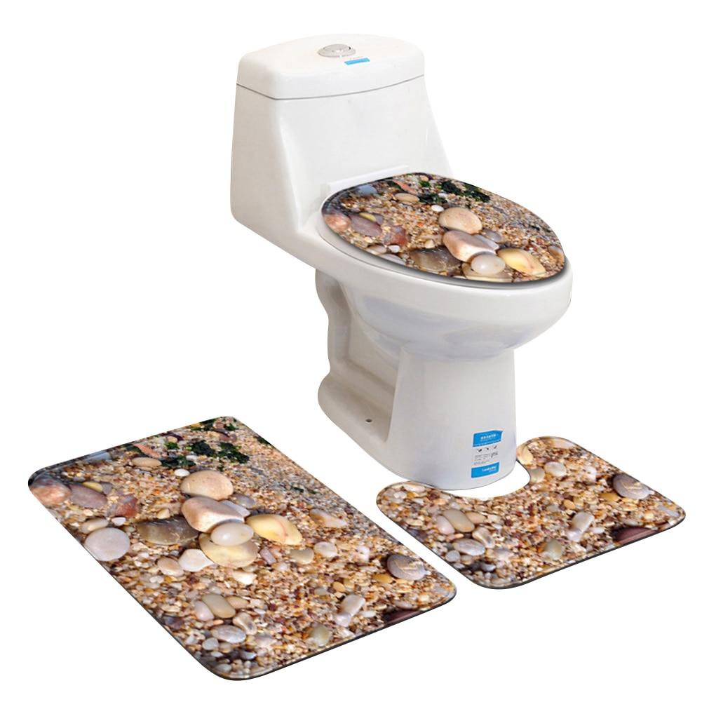 Купить с кэшбэком 3Pcs Cobblestones Pattern Bathroom Non-slip Floor Mat Toilet Lid Cover U-Shape Pad Set Waterproof Durable Mildew Resistant