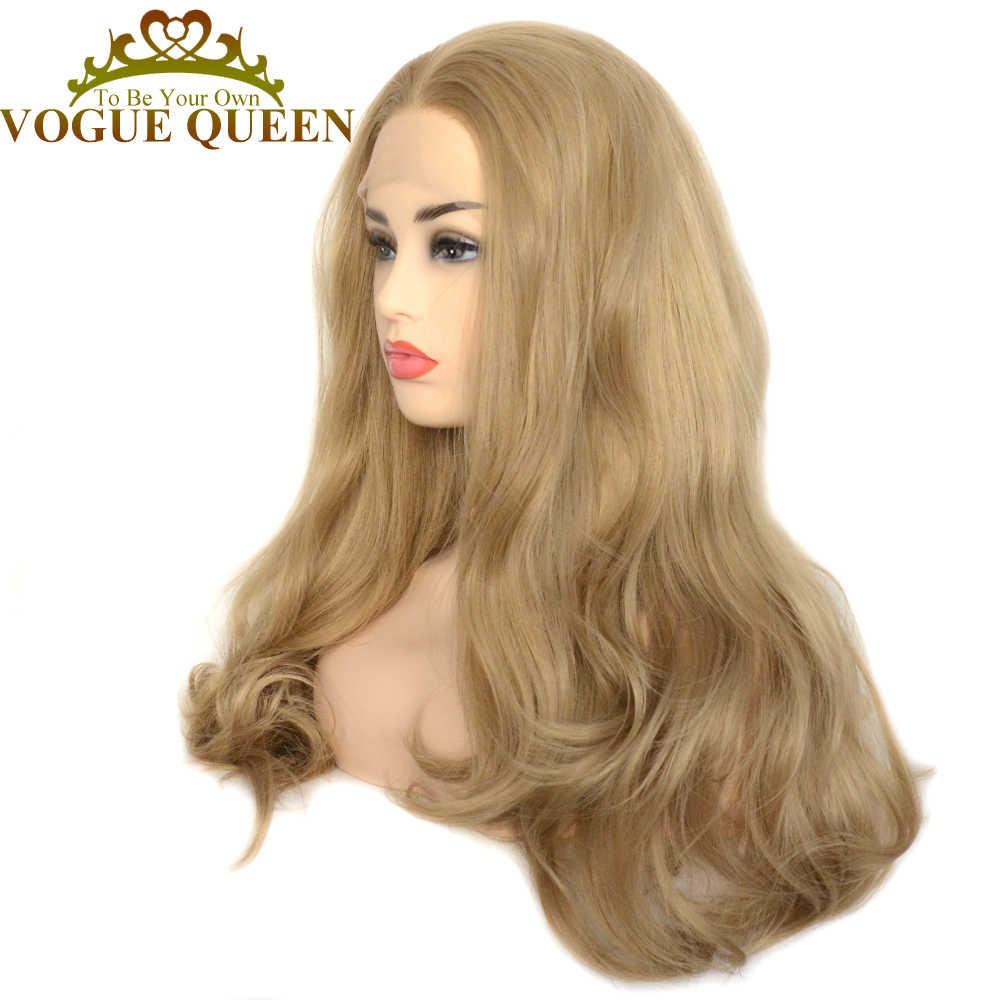 Vogue Koningin Dark Ash Blonde Lange Golf Pruiken Hittebestendige Vezel Synthetische Lace Front Pruik Dagelijkse Dragen Voor Vrouwen
