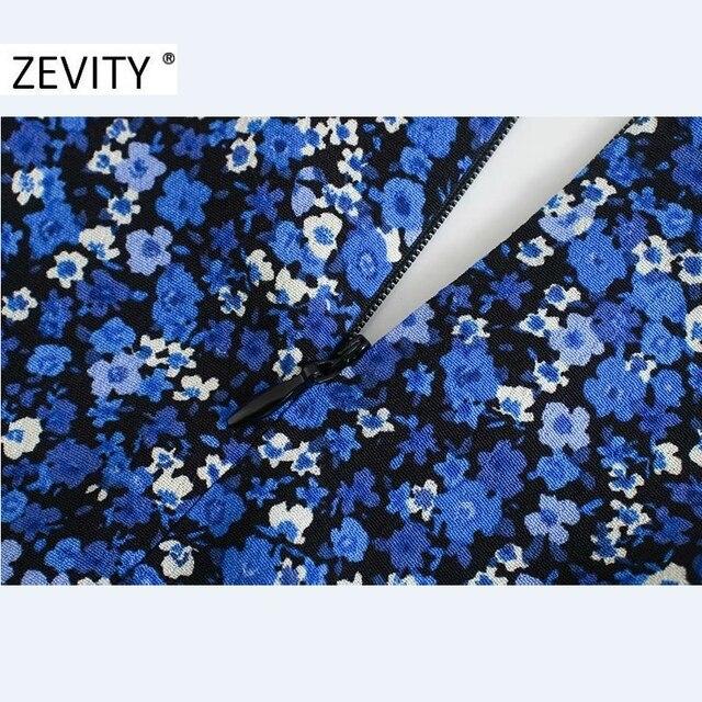 ZEVITY New Women Vintage V Neck Flower Print Pleated Shirtdress Ladies Long Sleeve Back Zipper Vestido Chic Split Dresses DS4516 6