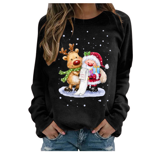 #2020 Fashion Christmas Women's Sweaters Christmas Print Long-sleeved Sweaters Casual Top Loose Sweaters Pullover Female свитер 3