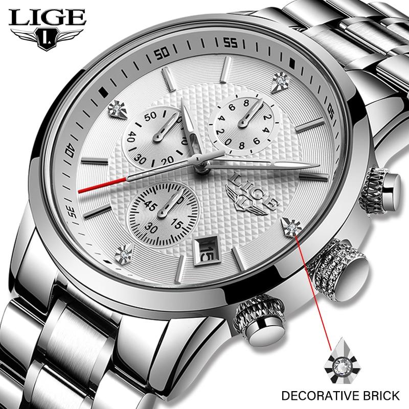 LIGE Men Watches Top Luxury Brand Full Steel Waterproof Sport Quartz Watch Men Fashion Date Clock Silver Watch Relogio Masculino