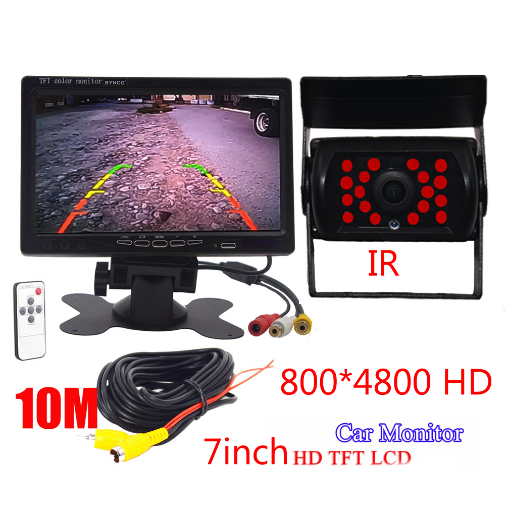 """Universal 7"""" inch Security Reverse Backup Parking VCR DVD Player 2 AV input HD LCD Color TFT Car Monitor with Rear View Camera"""