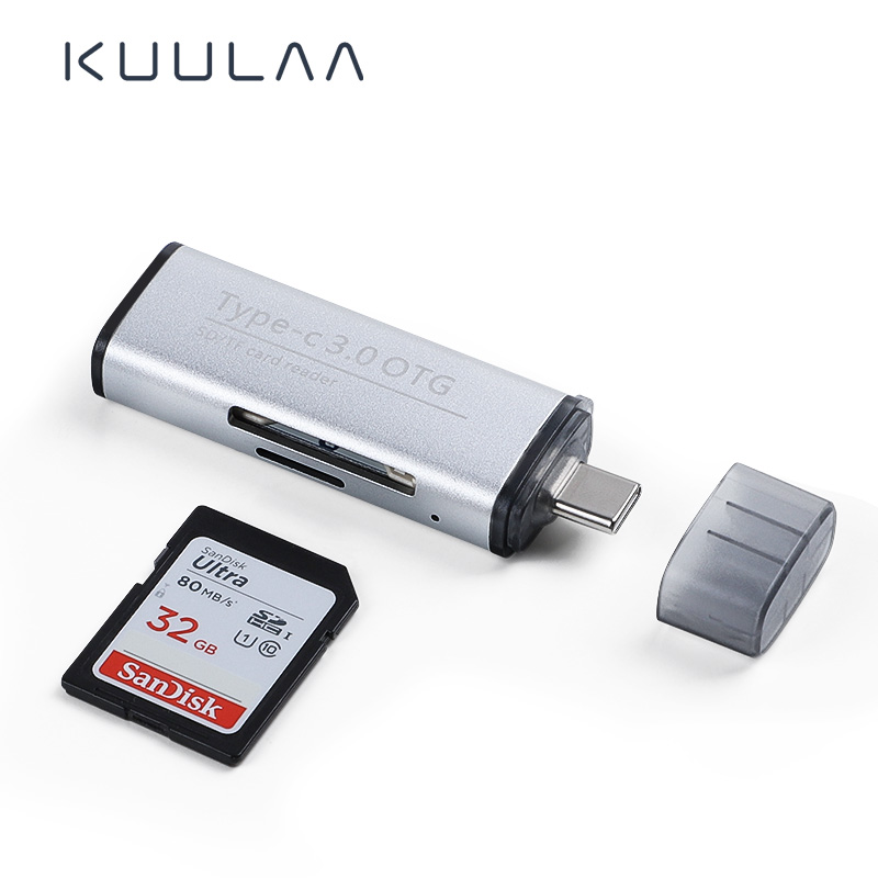 KUULAA Type C USB 3.0 Aluminum OTG Phone Multi Memory Card Reader Adapter Cardreader For Micro SD/TF Microsd Computer Laptop