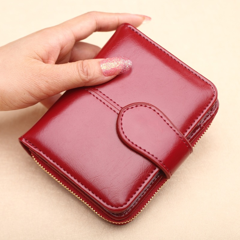 Hot Sale Wallet Short Wallet PU Women's Purse Zipper&Button Purse Red Small Wallet Coin Pocket