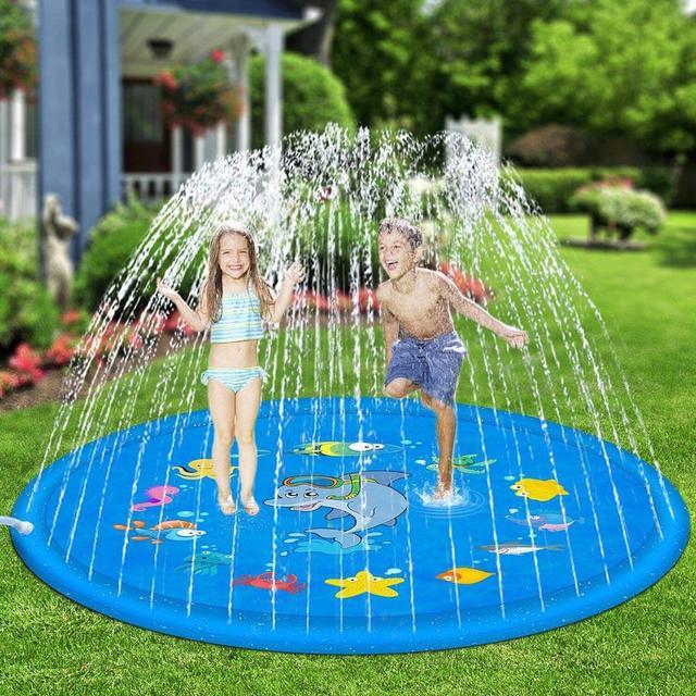 Outdoor Lawn Beach Sea Animal Inflatable Water Spray Kids Sprinkler Play Pad Environmentally friendly PVC diameter 100cm 170cm